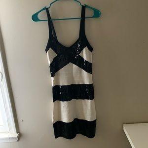 Bodycon black and white sequin dress